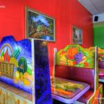 The colorful booths